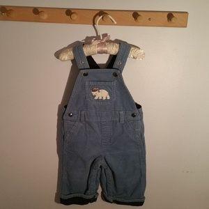 Gymboree Size 6 Months Blue Corduroy Bib Overalls